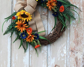 Summer Wreath for Front Door, Home and Living, Farmhouse Wreath For Front Door, Front Door Wreath, Summer Wreath, Front Porch Wreath, Wreath