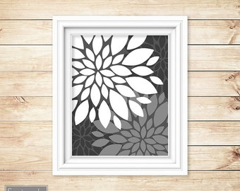 Grey White Floral Flower Burst Wall Art Gray Bathroom Bedroom Livingroom Nursery Decor Printable 11x14 Digital JPG Instant Download (44)