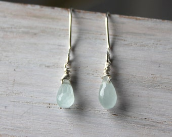 Aquamarine Everyday Earrings - Silver Dangle Earrings - Aquamarine Jewelry -  Drop Earrings- Handmade Jewelry- Gemstone Jewelry
