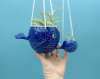 Mom and Baby,  Hanging Whale Air Planter, Aquatic Wonderland, Air plant. Succulents