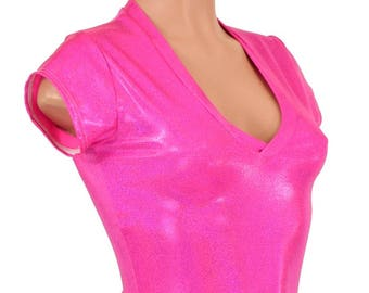 Neon Hot Pink Sparkly Jewel Cap Sleeve V Neck Crop Top Lycra Spandex Metallic Holographic Clubwear Festival Rave Burning Man - 154948