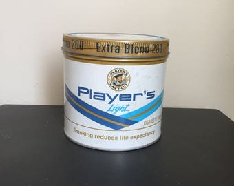 Vintage Players Tobacco Tin Metal Advertising Container Made in Canada Tobacciana