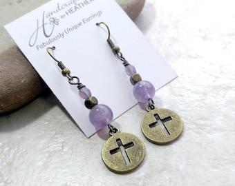 Amethyst earrings, cross earrings, purple earrings, brass and amethyst, February birthstone, gifts for women, gift for wife, ultra violet