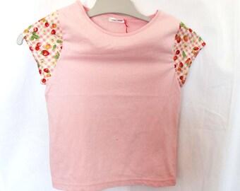 T-shirt fille manches courtes, vichy rose fraises et cerises 5 ans