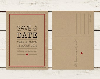 Save the date card. Kraft paper | Typography