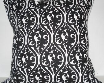 New 18x18 inch Designer Handmade Pillow Case in black and white.