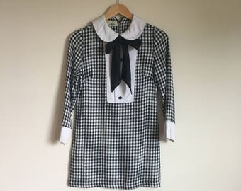 1960's Dolly Dress Mini with Bib Front, Necktie and Peter Pan Collar