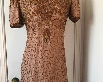 Stunning Silk Beaded Golden Bronze Dress size M 8-10