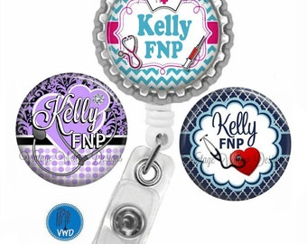 Family Nurse Practitioner (FNP1) Personalized Retractable ID Badge Reel with (3) Charm Magnets