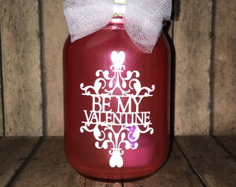 Valentine's Day inspired lantern, 16 oz, pint size mason jar, Be Mine, tea light included