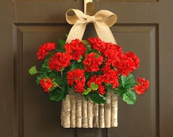 summer wreaths red geranium wreaths for front door wreaths birch bark vases gift ideas with love DECORATIONS
