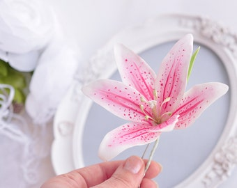 tropical flowers hair accessories pink Hawaii hair flower Lily Hair Pin Party beach wedding accessory pink flower hairpiece floral hair clip