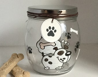 "Personalized Hand Painted Dog Treat Jar - Dog Treat Container - Dog Biscuit Jar - ""Doggie Day Dreamer"" Dog Treat Canister"