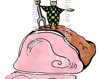 People with Food: baked ham digital printable clipart