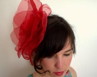 Oversize boho red hair flower/ Oversize flower headband/Boho floral headband/Oversize Red white flower fascinator