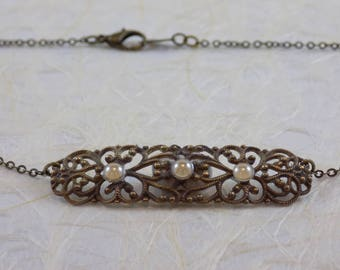 Victorian Filigree Necklace with Pearl Accents