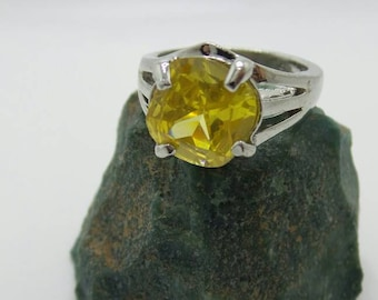 SALE Lemon Quartz Sterling Silver Ring, size 8.75