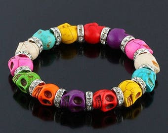 Beautiful bracelet with multicolor turquoise bead and Crystal