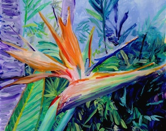 Tropical Bird of Paradise Original Reverse Acrylic Painting by Marionette Kauai Hawaii Hawaiian flower Exotic Decor Hawaii Interior Design