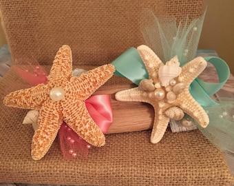 Xo bouquets wrist corsage starfish beach wedding