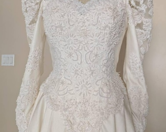Vintage 1980s Beaded Silk Dupioni Long Sleeve Wedding Gown V-013