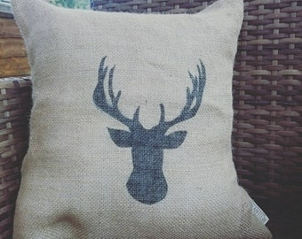 Hessian stag print head deer cushion cover, stag pillow made from jute burlap woodland decor