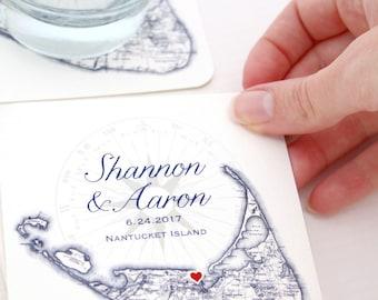 Custom Nantucket Coasters, Nantucket Wedding Favor, Nantucket Coaster, Custom Printed Nantucket Coaster, Nantucket Drink Coasters