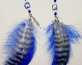 Blue and white, goose and chickabou fluff feathers