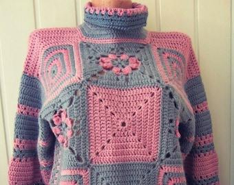 Clothing Boho, Grandma Square Sweater, Women's Clothing, Hand-made sweater, Crochet sweater, size L, ready for shipment.