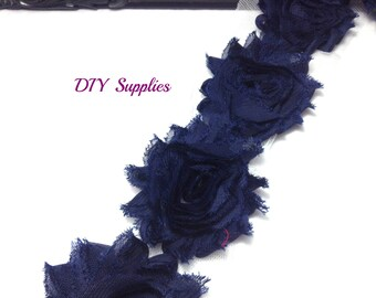 Navy - Shabby flower trim - Shabby flowers