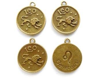 4 Antique Bronze Zodiac Leo Charms - 23-23-10
