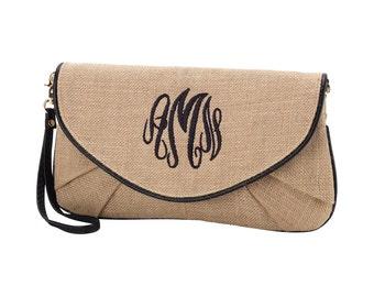 Burlap Clutch - Burlap Crossbody - Wedding Favor - Bridesmaid Gift - Monogrammed Clutch - Monogrammed Wristlet - Monogrammed Cross-body Bag