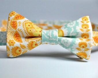 Orange and Blue Paisley Boy's Bow Tie