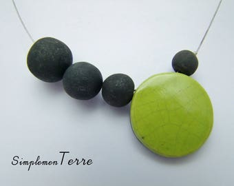 Green raku ceramic necklace