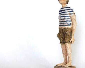 Pablo Picasso on the beach. Ceramic Sculpture, ceramic man, handmade, art ceramic