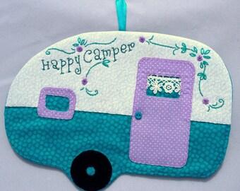 Vintage Trailer Happy Camper Mug Rug - Lavender