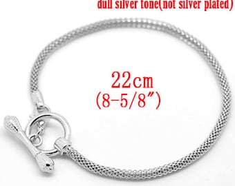 1 pc. Silver Tone Chain Bracelet with Toggle Clasp - 8 5/8 in (22 cm) - Fits European Beads