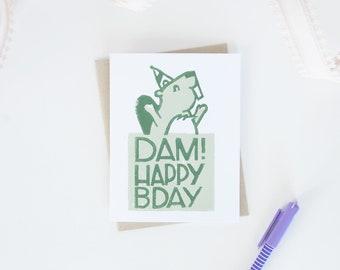 Beaver Birthday Greeting Card, Canadian Beaver, Funny Animal Puns, Birthday Cards, Lino Cut Cards, Block Printed Cards