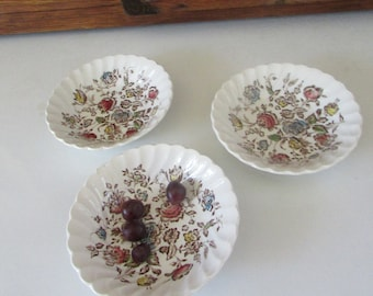 Staffordshire Bouquet Berry Bowls by Johnson Bros –  Transferware Ironstone Dessert or Sauce Bowls– Set of 3 - Vintage Johnson Bros- England