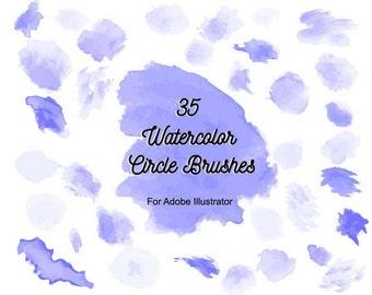 35 Watercolor Circle Brushes for Adobe Illustrator