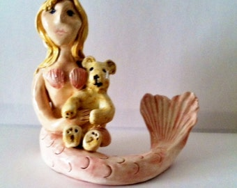 Cape Cod Mermaid with her teddy bear
