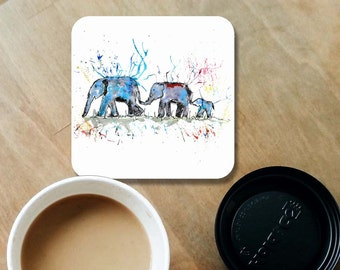 Elephant family coaster, wooden coaster, elephant gift, table coaster, drink coaster, tile coaster, coaster, elephant, home decor