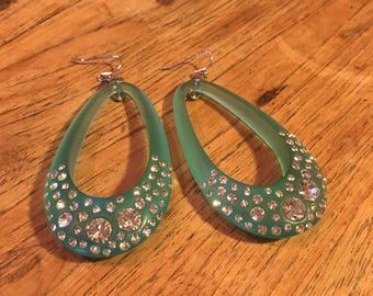 Vintage sparkly rhinestone earrings, turqoise
