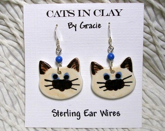 Himalayan Siamese Cat Clay Earrings Handmade Round French Wire With Glass Bead by GMS