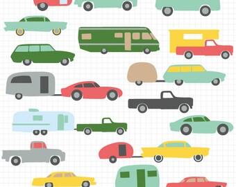 Retro Camper Clipart Clip Art Illustration Rh Etsy Com 5th Wheel Pop Up