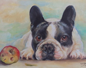 FRENCH BULLDOG PORTRAIT Original Art Dog portrait Hand painted pet portrait Contemporary Framed Oil Painting on canvas Frenchie Pet Fine Art