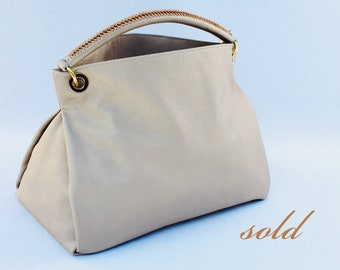 Metallic Golden-Beige Leather Hobo Bag handmade handbag tote purse Louis Vuitton LV inspired (SOLD) Custom Order