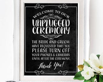 Unplugged Wedding Poster - INSTANT DOWNLOAD - Art Chalkboard Sign, no social media, no phones, no cameras, wedding poster, wedding art print