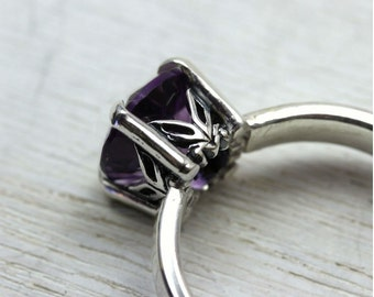 Amethyst Gemstone Ring in Sterling Silver, custom size with art deco setting and simple band