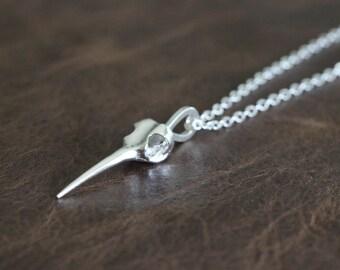 Hummingbird Skull Pendant Necklace Sterling Silver